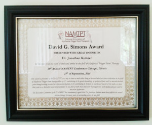The NAMTPT Lifetime Award for Contribution to Myofascial Trigger Point Therapy